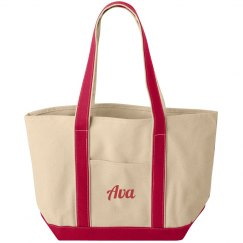 Ava personalized canvas tote bag