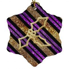Purple Black & Gold Stripes Golden Holly