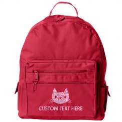 Custom Name Glitter Kitty Cat Kids School Backpack