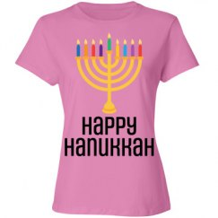 Happy Hanukkah Menorah Colored Candles Celebration