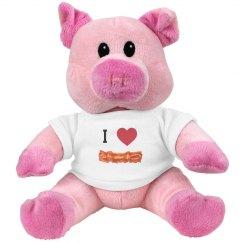 "Funny ""I Love Bacon"" Stuffed Pig"