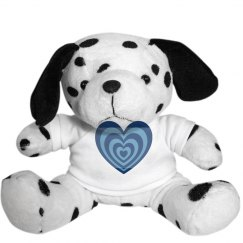 Plush puppy toy with heart