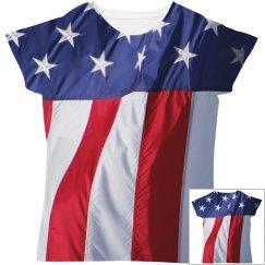 Fourth Of July Flag Print Shirt