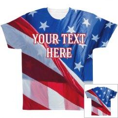 American Flag Shirt & Custom Text