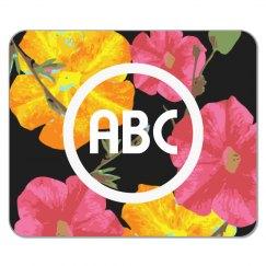 Custom Initials Floral Mousepad