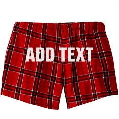 Custom Text Flannel Pajama Shorts