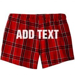Custom Text Flannel Pajama Shorts