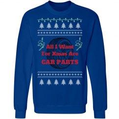 Xmas Car Parts - Ugly Sweater Sweatshirt - Blue