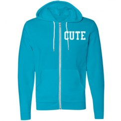 Blue Cute Zip Up Hoodie