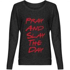 pray and Slay Dark Grey Slouchy Shirt