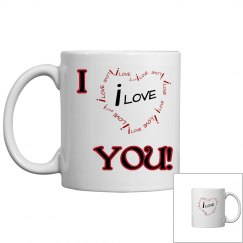 I Love You! Red & Blk Coffee Mug