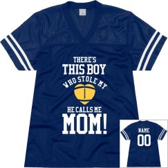 Football Mom Heart With Custom Name Number