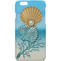 Aqua & Gold Seashells Coral Reef