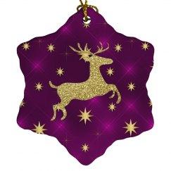 Golden Reindeer & Stars Purple