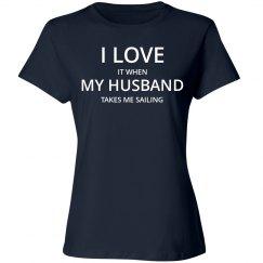 Love Husband Love Sailing T-Shirt