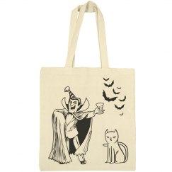 Halloween Vampire, Cat and Bats Tote