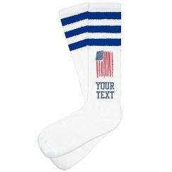 Custom Text USA July 4th Socks