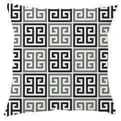 Gray Black White Greek Key Pattern