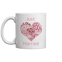 just married heart mug