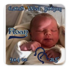LMM#168 birth announcement coaster