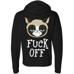 Grumpy Cat Fu ck Off Womens Zip Hoodie
