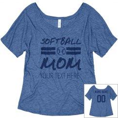 Custom Number Softball Mom