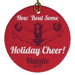 Christmas Cheerleader Ornament With Custom Name