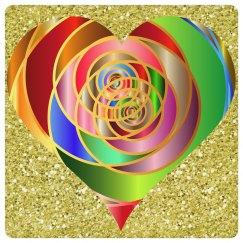 Colorful Spiral Heart Gold