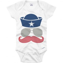 Patriotic Sailor Stache Onesie