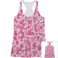 All Over Print Pink Tank Top