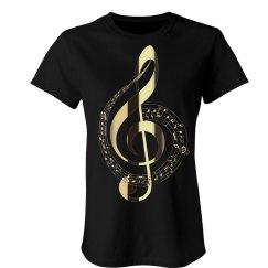 Golden Treble Clef Music Notes Swirl