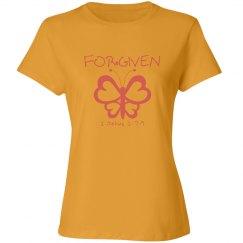 FORGIVEN - 1 John 1:7-9 - Ladies Junior Fit Tee