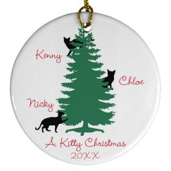 Kitty Christmas Custom Cat Name Ornament