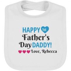Happy First Father's Day Bib