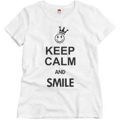 KEEP CALM Smiley Crown Black + your text