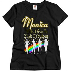 21 AND FABULOUS DAZZLING DIVA PERSONALIZED T SHIRT