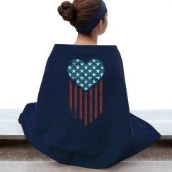 Vintage American Flag Heart