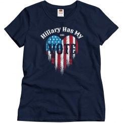 American Flag Heart Vote Hillary