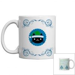Purrfect Xmas blue mug