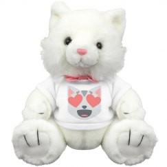 Smiling Face Heart Shaped Eyes Medium Plush Kitty Cat