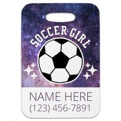 Custom Soccer Girl Luggage Tag