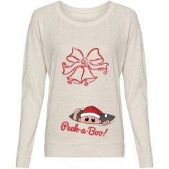 Peek a Boo Christmas Maternity Tshirt