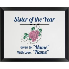 Sister of the Year Plaque