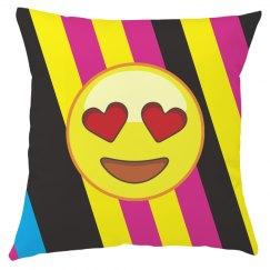 Emoji Valentine Heart Striped Throw Pillow