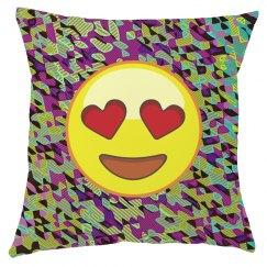Emoji Valentine Heart Stenciled Throw Pillow