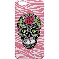 Pink Zebra Sugar Skull