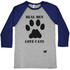 Real Men Love Cats Baseball Tee