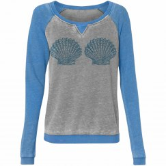 Blue shell mermaid top