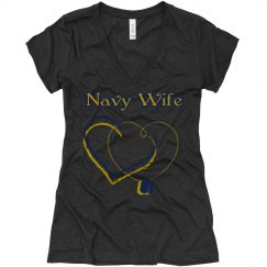 Navy wife v-neck