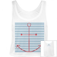 Love Anchor Stripe Crop White
